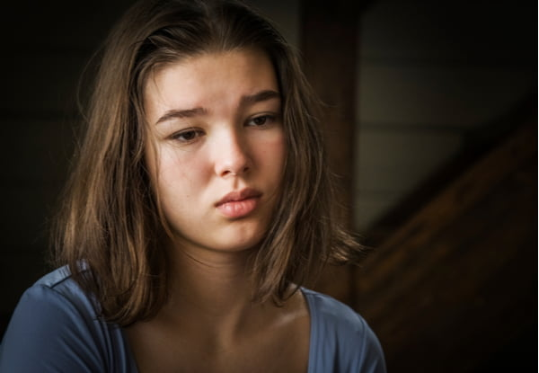 Sad pensive teenage girl